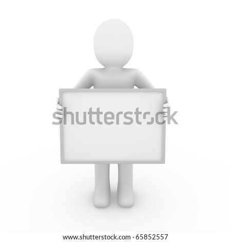 3d man billboard blank hand isolated white background