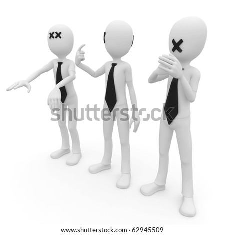 3d man blind deaf mute isolated on white