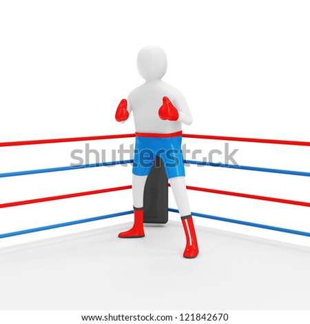 3d Man Boxer on the Ring isolated on white background