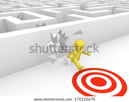 3d man breaking a way to target through labyrinth walls. - stock photo