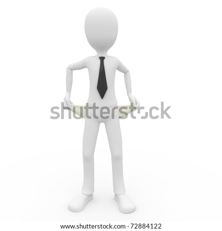 3d man broke businessman isolated on white - stock photo