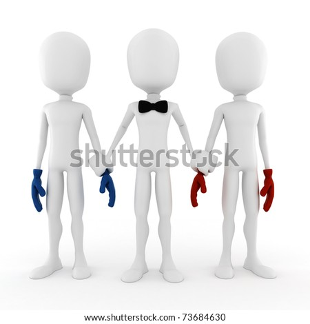 3d man business competition concept - stock photo