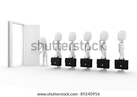 3d man business concept, on white background - stock photo
