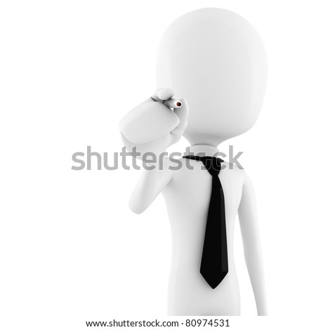 3d man - business man holding a pen isolated on white background - stock photo