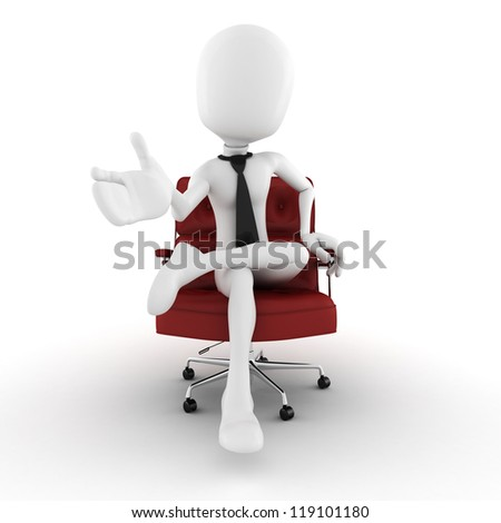 3d man - business man in an arm chair gesturing to imaginary audience in front of him - stock photo