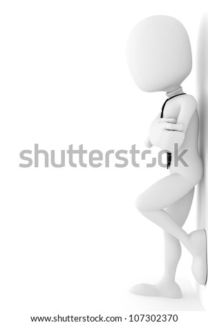 3d man business man leaning up against the wall - stock photo