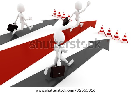 3d man business man running on colorful arrows