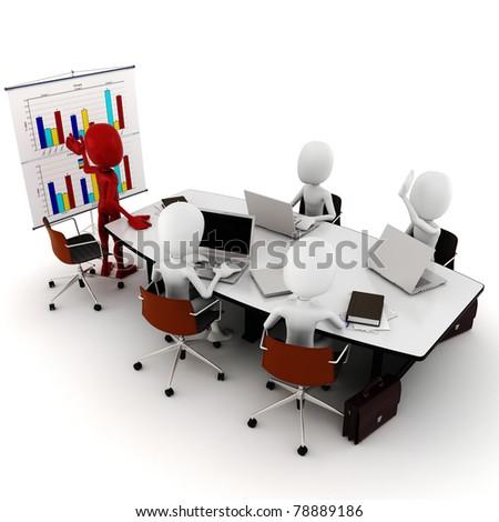 3d man business meeting - stock photo