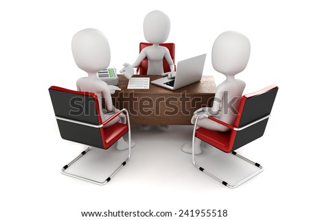 3d man, business meeting, job interview - stock photo