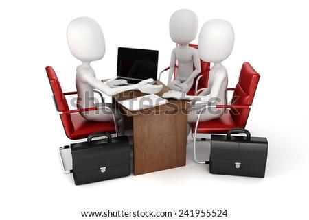3d man, business meeting, job interview - stock photo