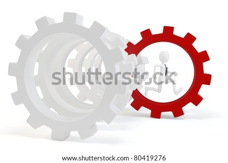 3d man business with red gear isolated on white