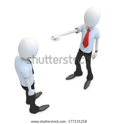 3d man businessman accusing and pointing finger on white background