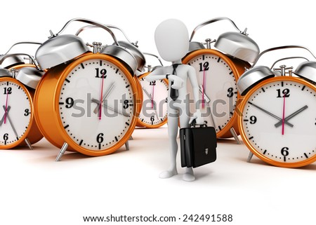 3d man businessman and alarm clocks on white background