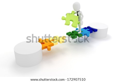 3d man businessman and puzzle link