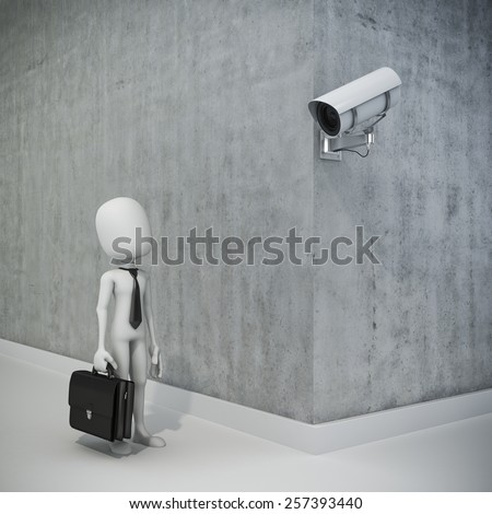 3d man, businessman and security camera - stock photo