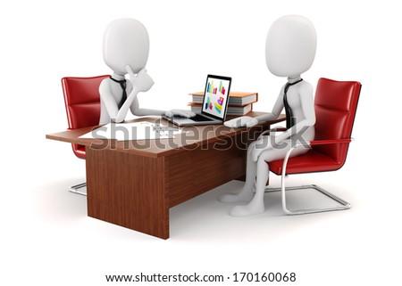 3d man businessman, business scene - stock photo
