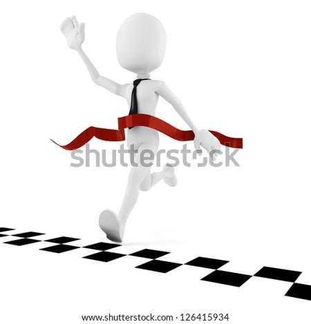 3d man businessman competition in business, concept - stock photo
