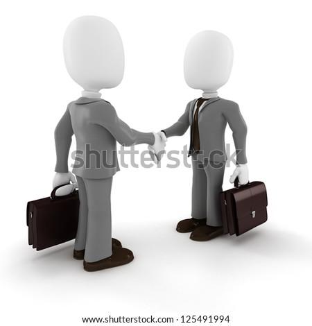 3d man businessman hand shake on white background - stock photo