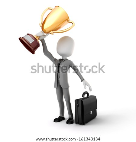 3d man businessman holding a gold trophy cup on white background - stock photo