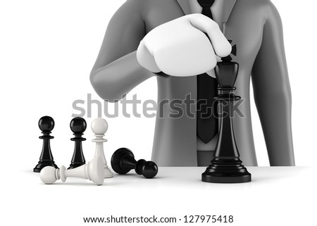 3d man businessman moving a king chess figure with few pawns army behind, business concept and strategy - stock photo
