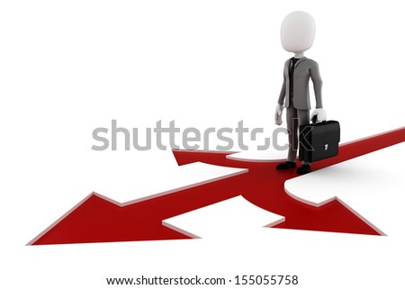 3d man businessman  on red arrow showing three directions