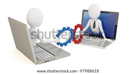 3d man businessman online teamwork concept on white - stock photo