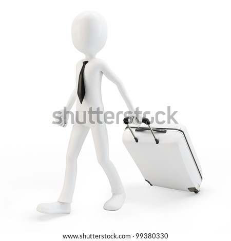 3d man businessman pulling a trolley suitcase on white background - stock photo