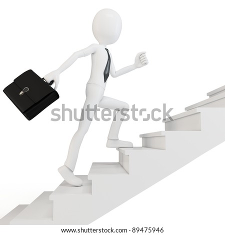 3d man businessman racing upstairs on white background