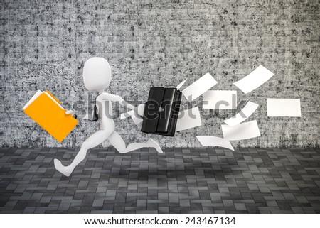 3d man businessman running, business metaphor - stock photo