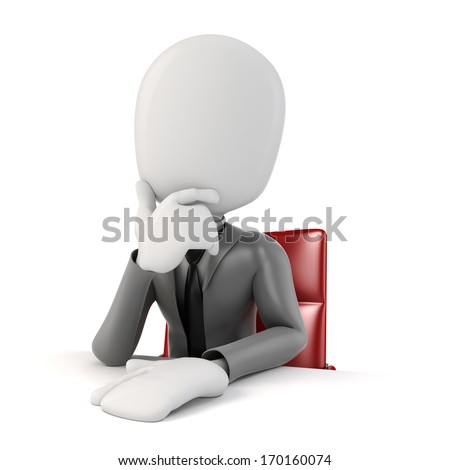 3d man businessman sitting at a desk, on white background  - stock photo