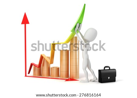 3d man businessman, success in business concept - stock photo