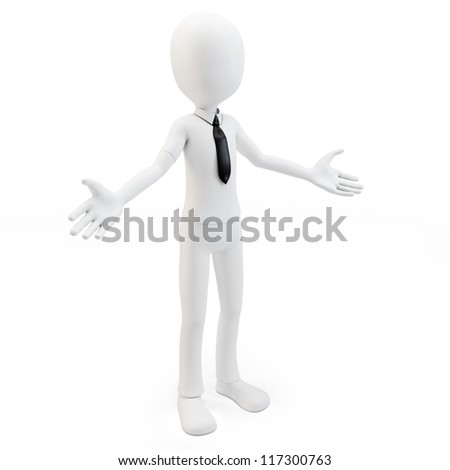 3d man businessman welcoming with open arms on white background