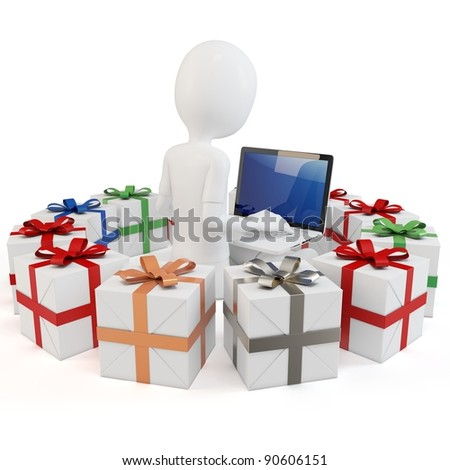 3d man businessman with gift boxes on white background
