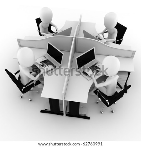 3d man, call center, isolated on white - stock photo