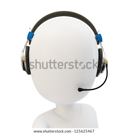 3d man call center support with headphones on white background