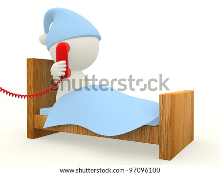 3D man calling from a telephone from bed  - isolated over white background