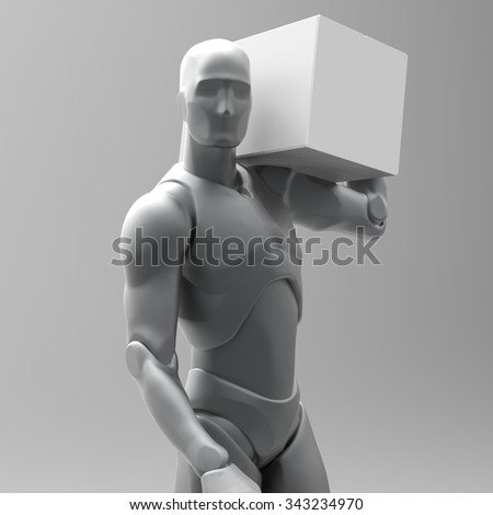 3D man carries a box. 3d rendered illustration Human Profession loader with white box. Grey White Background with shadows. Set