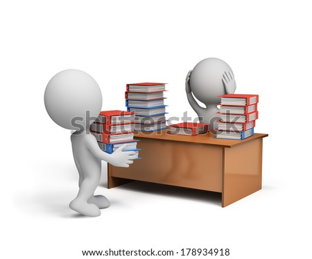 3d man carries a large stack of documents in the office. 3d image. White background. - stock photo