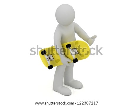 3d man carries in his hand a yellow skateboard on white background