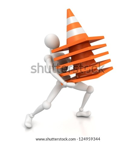 3d man carries stack of heavy traffic cones - stock photo