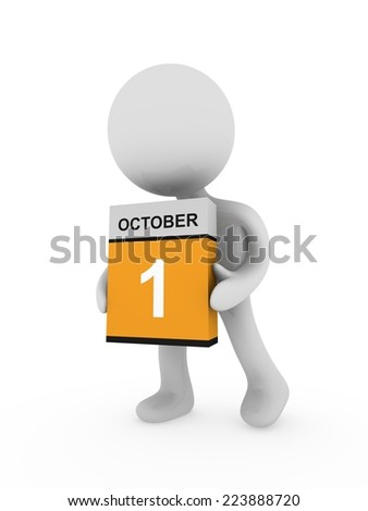 3d man carry a box with October month  - stock photo