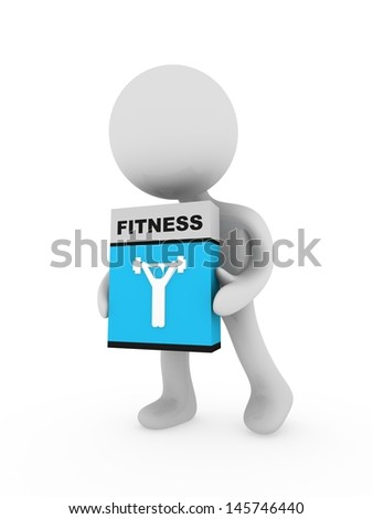 3d man carry a fitness box