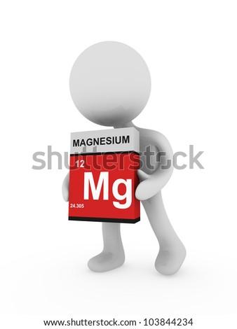 3d man carry a magnesium box - stock photo