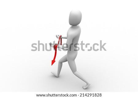 3d man carrying arrow on hand - stock photo