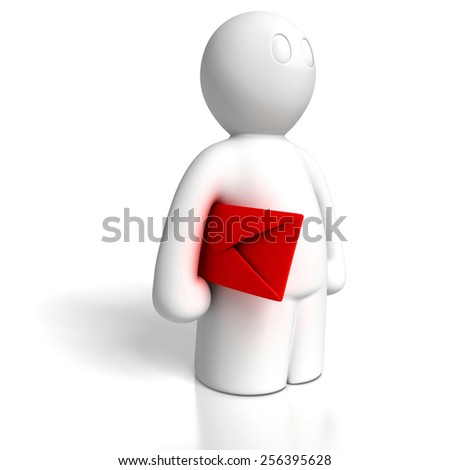 3d man carrying envelope on white background