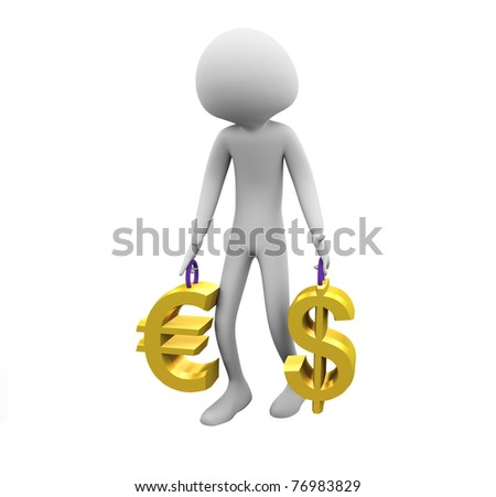 3d man carrying golden dollar and euro symbols - stock photo