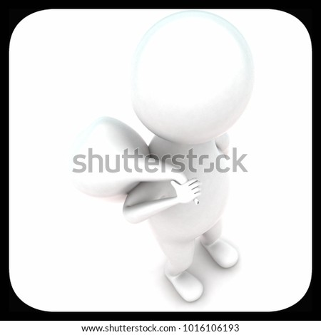 3d man carrying rough sack concept in white isolated background - 3d rendering ,  top angle view