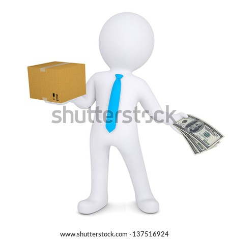 3d man changing a cardboard box on the money. Isolated render on a white background