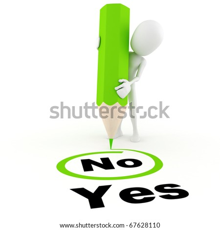 3d man choosing between yes and no - stock photo