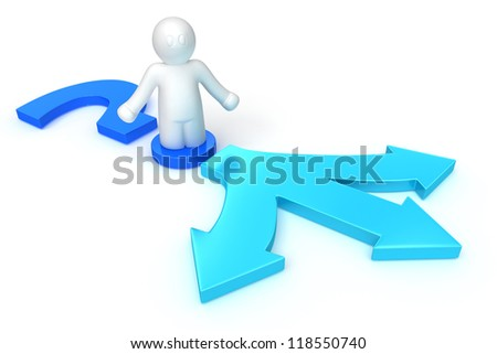 3d man choosing the way on white background, isolated - stock photo